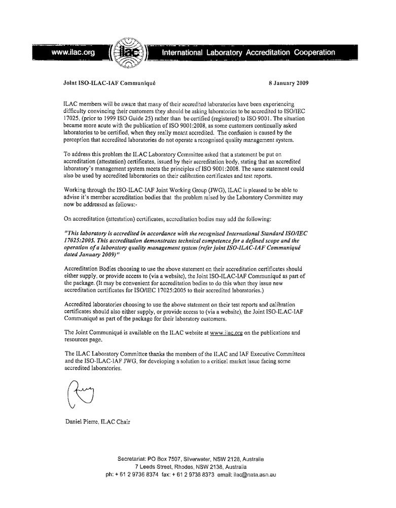 Joint ISO-ILAC-IAF Letter