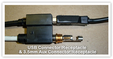 USB Connector/Receptacle  & 3.5mm Aux Connector/Receptacle